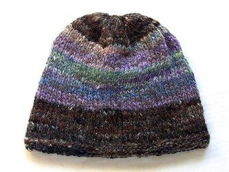 SALE 手紡ぎ糸のニット帽 H-095の画像