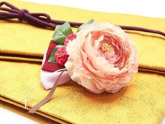 レトロアンティーク髪飾り 28(薄紫のリボンに大きな桃色牡丹)の画像