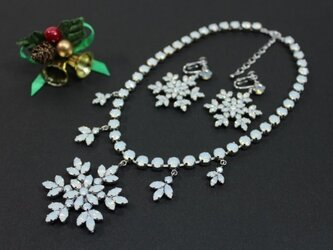 スノークリスタル ネックレス&イヤリングセットの画像