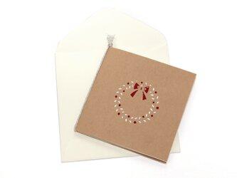 【クリスマスカード】リース・白の画像