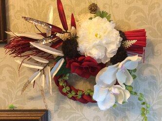 ★お正月★おめでたい紅白のしめ縄飾りの画像