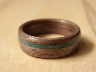 手作り木の指輪~ウォルナッツ×クリソコラ~の画像