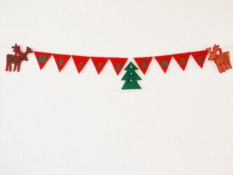 受注製作★製作に1週間程かかります。メリークリスマスロゴ入りガーランドの画像