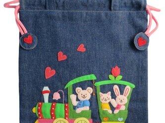 入園用品:巾着 機関車(女の子用)の画像