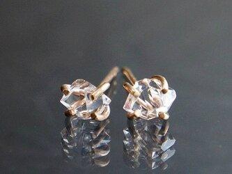 ハーキマーダイヤモンド スタッドピアス ゴールドの画像