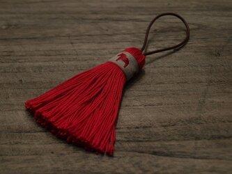 【再販】♞ダーラナホースタッセル♞ 【北欧の幸運の馬】バッグチャーム キーホルダー 赤リボン×赤の画像