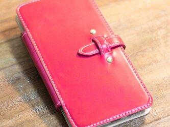iPhone6 Plus 手帳タイプレザーケース ピンクxヌメ革の画像