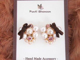 Pink pearl & ribbon - ピアス -の画像