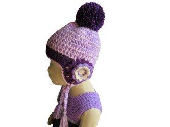 子供用 大きなポンポンつきニット帽子 (紫)(40cm)の画像