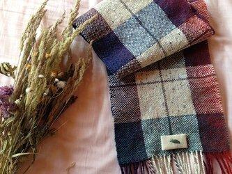 手織り リトアニアウール格子柄の画像