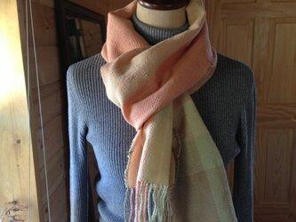 手織り ラムウール ストールの画像