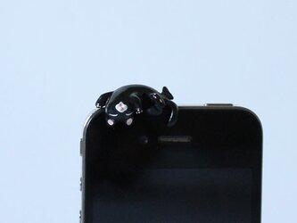 あおむけグニャリ猫イヤホンジャック 【黒】の画像