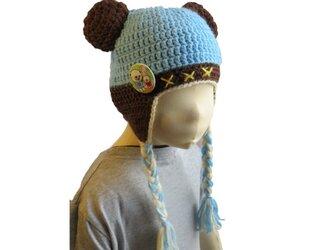 子供用:水色のくま耳つき帽子 男の子も女の子にも!(42cm)の画像