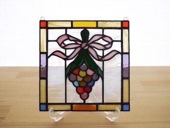 ステンドグラス ミニパネル 花飾り 15cmの画像