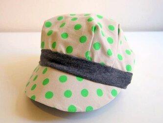リバーシブル キャスケット ハット -Dotty Green-の画像