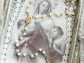 14金ゴールドフィルド マザーオブパール ロザリオ風ネックレスの画像