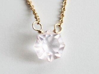14kgf 宝石質ローズクォーツの一粒ネックレス[NS14-1]の画像