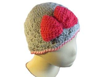 子供用 編地がかわいいやわらか帽子 ピンクリボン(44cm)の画像