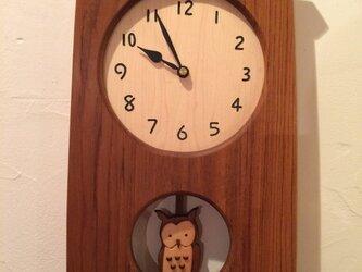 I様ご注文 みみずくの振り子時計の画像