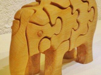 木の立体動物パズル「ani-woods」鼻下げぞうの画像