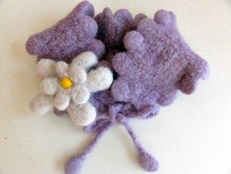 女の子用ウールのえり飾り ライラックマフラーの画像