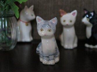 猫の置物 サバトラの画像