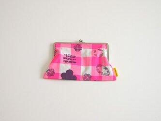 ぺたんこがま口(L)/ピンク(ヒナタスキップ柄)の画像