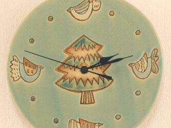 「とりともみの木模様」の陶製時計の画像