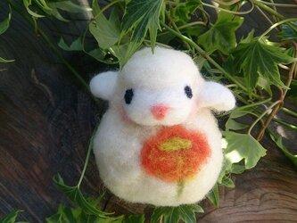 羊毛フェルト 白ひつじだるま 橙花の画像