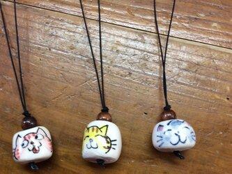 猫ネコストラップ3個セットの画像