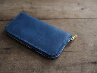 藍染革 ラウンドファスナー長財布の画像