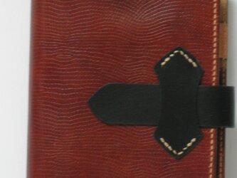 手縫 牛革リザードの型押しを使ったバイブルサイズのシステム手帳の画像