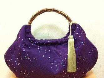 着物リメイクバッグ~紫に蝶々~の画像