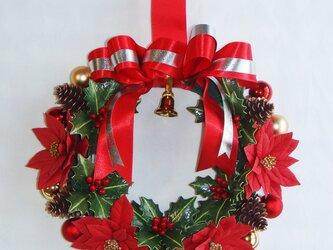 クリスマスリース ポインセチアの画像