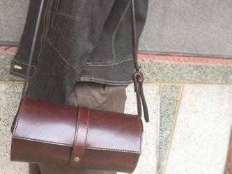 【受注生産】総手縫い 栃木レザーのマキモノショルダーバッグ Sの画像