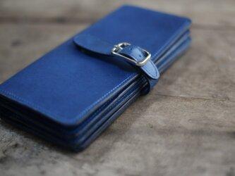 藍染革 長財布 椚  マグネット留めベルト追加の画像