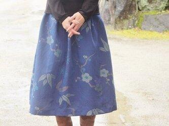 着物のタック入りスカート(青・M~L)の画像
