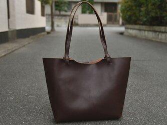 【受注製作】手作レザーハンドバッグ 高級レザー茶褐色B58372の画像