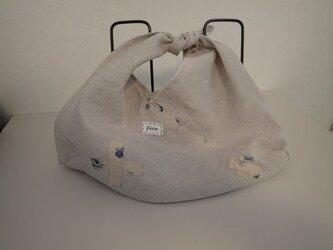 あずま袋 その6 リネンとブルーの花プリント Sサイズ  の画像