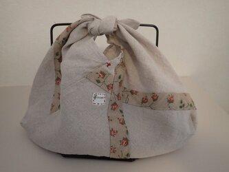 あずま袋 その7 リネンと赤の花プリント Sサイズの画像