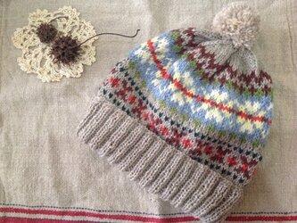 北欧伝統柄(ベージュ)  ぽんぽん帽子の画像