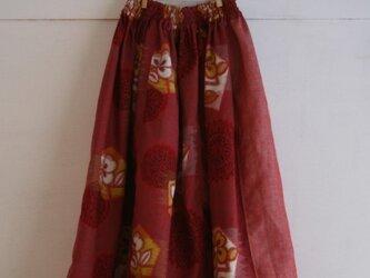 セール!綿 麻 赤色 パッチワークゴムスカート SMサイズ の画像