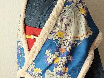 アンティーク古布のボアショール 青に扇と白の花2の画像