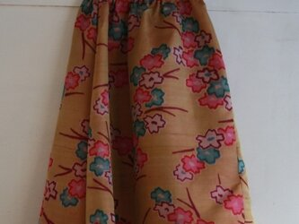 絹 紫色 牡丹模様のゴムスカート Fサイズ の画像