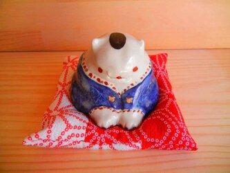 お福猫ちゃん:お座布団付きの画像