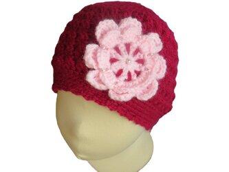 子供用 シンプルな形の手編みニット帽子(42cm)の画像