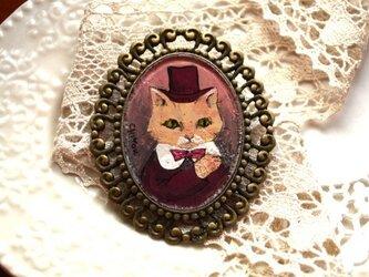 アンティークな猫*ブローチの画像