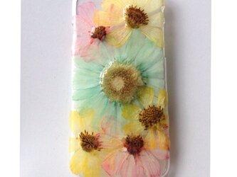 ミントグリーンiPhone6押し花の画像