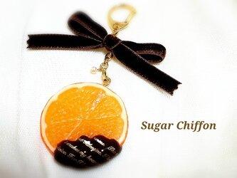【送料無料】とろ~りチョコレートがけオレンジキーホルダー♡の画像