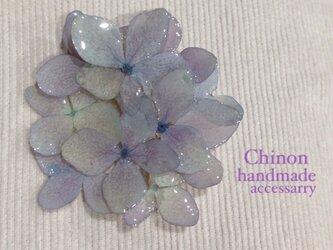薄紫の大輪紫陽花ブローチの画像